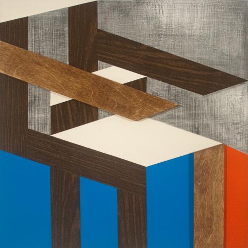oil, spray paint, vinyl, wood, canvas, pencil on panel, 24 x 24