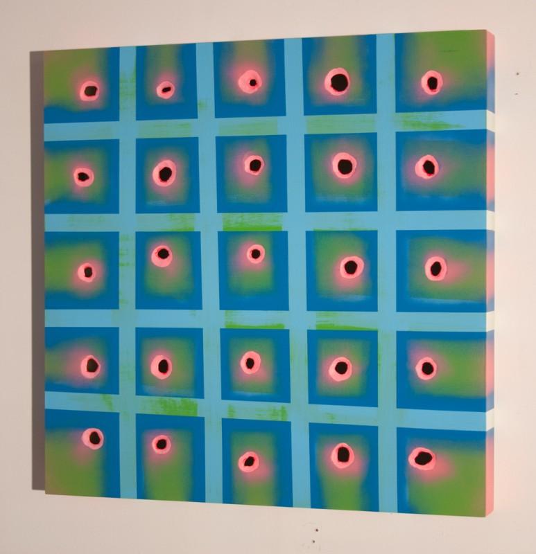 Spray paint and acrylic on wood, 24 x 24 x 4